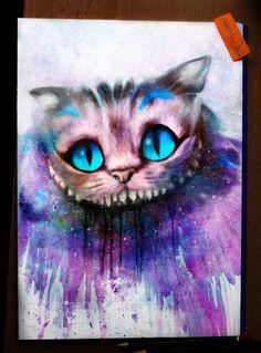 Cheshire Cat - Digital Painting / Watercolor by Alexander Deboir https://facebook.com/AlexanderDeboirOfficial