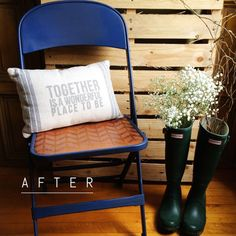 Garage Sale Chair Makeover using Stencil Material and your Silhouette #silhouettedesignteam