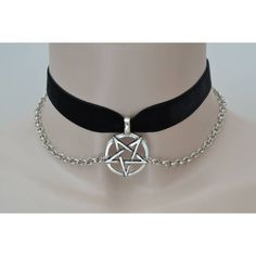 Large Inverted PENTAGRAM Charm With CHAINS BLACK 16mm Velvet Ribbon... (85 DKK) ❤ liked on Polyvore featuring jewelry, charm jewelry, chains jewelry, ribbon charms, chain charms and ribbon jewelry