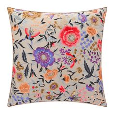 Enjoy style and versatility in your interior with the Sierra Sausalito cushion from Missoni Home. This cushion boasts two different patterns: one side features floral embroidery upon cotton sateen, wh Designer Pillow, Designer Throw Pillows, Floral Throws, Pillow Inspiration, Chevron Throw Pillows, Luxury Sofa, Scatter Cushions, Home Textile, House Colors