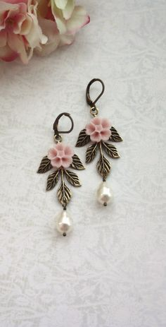 Pink Flower, Ivory Pearls, Leaf Sprig Earrings, Brass Leafy Leaves Earrings, Leaf Sprig, Bridesmaids Gift. PInk Rustic Bridal Wedding by Marolsha.