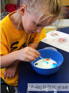 love this science experiment!! {Milk, Dish Soap, Q-tips, Food Coloring- Directions and recording page are on the blog for free}