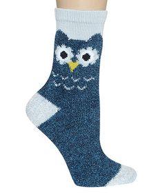 Look at this #zulilyfind! Teal Owl Crew Socks by Capelli New York #zulilyfinds
