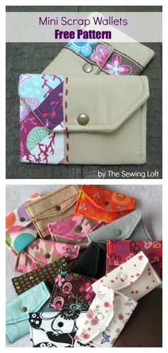 Mini Scrap Wallet Free Sewing Pattern, Perhaps you are a beginner sewist trying to find some easy sewing projects, or possibly you are jus, Purse Patterns Free, Easy Sewing Patterns, Bag Patterns To Sew, Sew Wallet, Fabric Wallet, Wallet Sewing Pattern, Diy Wallet Pattern Free, Free Pattern, Mini Gift Bags
