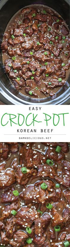 Slow Cooker Korean Beef - Amazingly tender, flavorful Korean beef easily made in the crockpot with just 10 min prep. Amazingly tender, flavorful Korean beef easily made in the crockpot with just 10 min prep. It doesn't get easier than that! Crock Pot Recipes, Slow Cooker Recipes, Cooking Recipes, Healthy Recipes, Healthy Food, Easy Recipes, Recipes Dinner, Crockpot Asian Recipes, Potato Recipes