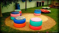 used tyres as garden stools Meu cantinho verde