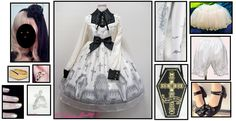 First Coord! ~ Angelic Pretty Horror Garden OP (Ivory) -  Angelic Pretty Brilliant Cross Purse (Black x Gold)  -  Angelic Pretty Brilliant Cross Ring (White) -  Innocent World Winter Sale 2017 Bloomers (White)  -  Classical Puppets Bell-shaped Petticoat (White)  -  Yidhra Church of the Moon Tights (Ivory) - Sweet Mildred Custom Veil with Velvet Bow and Black Roses  -  HiUnni Coffin Earrings  -  Ann Boyar Nail Polish (Pearl and Gold) - Mister Coffin Ring (Gold) - Offbrand Tea Party Shoes…