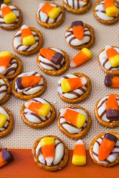 Candy Corn Pretzel Hugs! Love these but the rolo and pecan version are still my favorite.