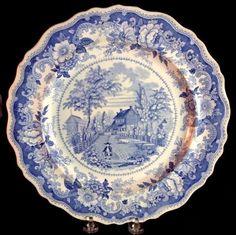 Residence Of The Late Richard Jordon New Jersey Blue Transferware Plate 1830