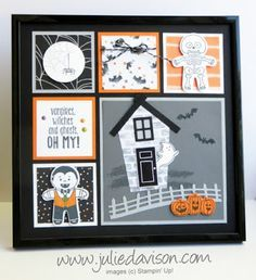Halloween Sampler Frame with Stampin' Up! Cookie Cutter Halloween, Spooky Fun, Sweet Home , Halloween Night products from 2016 Stampin' Up! Halloween Frames, Up Halloween, Halloween Cards, Box Frame Art, Box Frames, 3d Paper Crafts, Paper Crafting, Stampinup, Frame Crafts