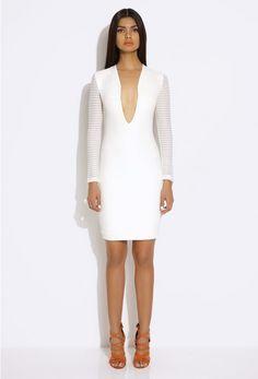 Belle Cream Long Sleeved Mini Dress | AQ/AQ
