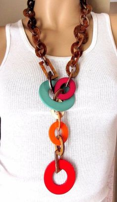 """ANGELA CAPUTI BUFFALO HORN RESIN RUNWAY NECKLACE WITH 9"""" INCH DROP!   Jewelry & Watches, Vintage & Antique Jewelry, Costume   eBay!"""