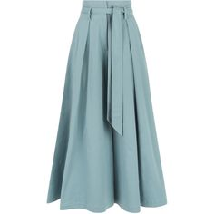 Temperley London Blueberry Tailoring Ruffle Culottes (€515) ❤ liked on Polyvore featuring pants, capris, skirts, blue trousers, tailored pants, ruffle pants, tailored fit pants and tailored trousers