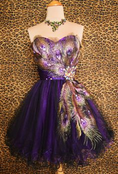 Purple Peacock Prom Cocktail Evening Mardi Gras Pageant Short Gown Dress M 6 8 | eBay