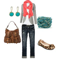 jeans, white T, gray sweater, orange scarf, leopard flats, big brown bag, turquoise accessories