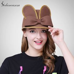 Female hat England wool felt hat rabbit ears cap bowknot Ivy hats cute knight cap with keep warm Like if you are Excited! #shop #beauty #Woman's fashion #Products #Hat