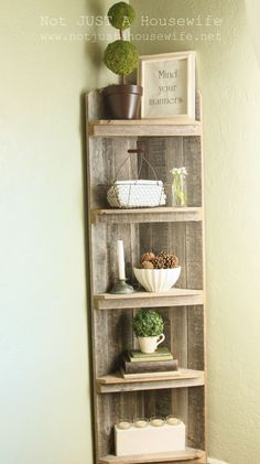 I love this corner shelf display via notjustahousewife.net