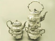 A magnificent antique Victorian Irish sterling silver four piece tea service / set; part of our silver teaware collection   http://www.acsilver.co.uk/shop/pc/Irish-Sterling-Silver-Four-Piece-Tea-Service-Antique-Victorian-97p3398.htm