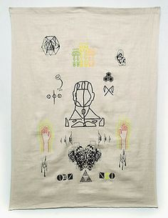 jeffreyscottmathews:  Ego drift and evolve // entering the arch of severus (3,3,3,2,1… O.E.N.), 2014 Computerized vector embroidery on sewn burlap