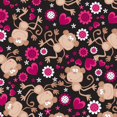 Anti Pill Fleece Fabric Fabric- Monkey Hearts at Joann.com