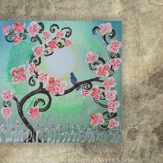 Emerald green Painting pink Flowers of Cherry by KsaveraART, €47.00