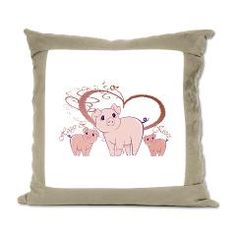 Hoggs and Kissess, Cute Pigs Heart Suede Pillow
