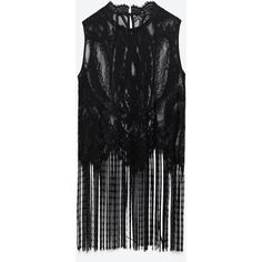 Zara Fringed Blonde Lace Top (2.375 RUB) ❤ liked on Polyvore featuring tops, black, lace fringe top, zara top, lace top, fringe top and lacy tops