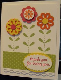 Really sweet card using the Blossom Bouquet Triple Layer Punch