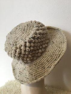 Crochet wide brim ladies hats, bobble hat, wide brim bobble hat, woolly brim Hat, fashion millinery, women's hats, birthday gifts