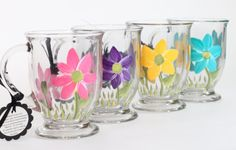 Adorable Glass Coffee Mugs that would brighten my kitchen! ~ Judi Painted it