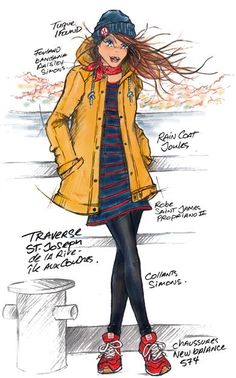 Raincoat, Anime, Illustrations, Art, Fashion, Rain Jacket, Moda, La Mode, Anime Shows