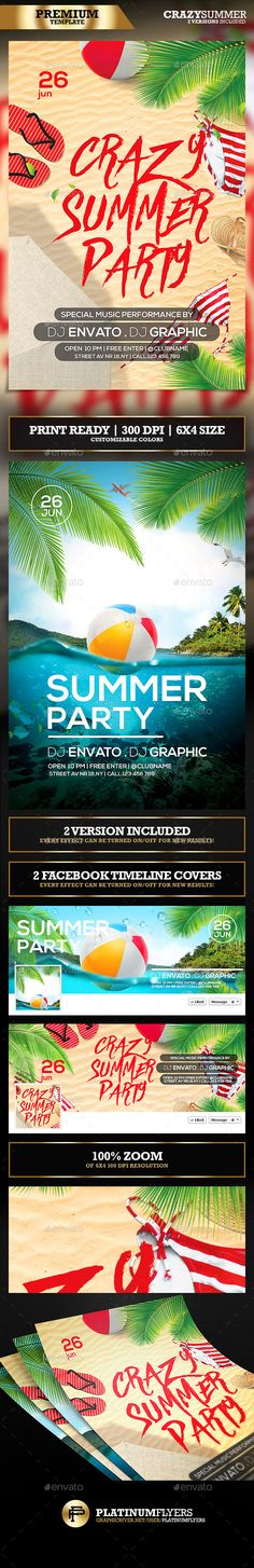 Summer Party Flyer Templates (2 version included) - Print Templates