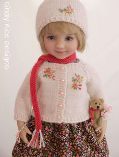 """""""Warm Hugs and Kisses"""", a handmade and one-of-a-kind ensemble made for Dianna Effner's Little Darling dolls, cindyricedesigns.com"""