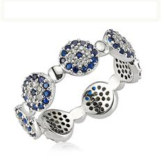 Evil Eye Ring ,925 Sterling Silver Filled  CZ Stones by Evil Eye Gems (Evil Eye Jewelry)