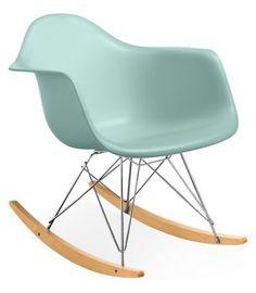 Aqua Eames armchair rocker. My dream nursery rocking chair.