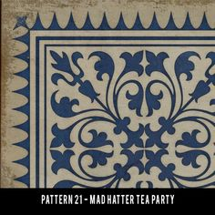 Pura Vida Home Decor - Pattern 21 Mad Hatter Tea Party vinyl floor cloth, $50.00 (http://stores.puravidahomedecor.com/pattern-21-mad-hatter-tea-party-vinyl-floor-cloth/)
