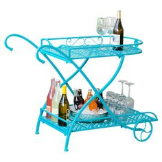 Metal indoor/outdoor serving cart with a scrolled design in turquoise.
