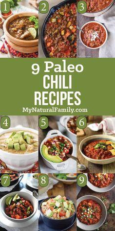 9 of the Best Paleo Chili Recipes - No Beans Here! - My Natural Family Paleo Chili Recipes Paleo Crockpot Recipes, Gf Recipes, Chili Recipes, Great Recipes, Healthy Recipes, Crockpot Meals, Paleo Stew, Paleo Chili, Chili Chili