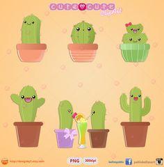 Kawaii Cactus Clipart Printable stickers clip art kikki k  Perfecto para tus recortables, impresiones, stickers, planners o para diseñar tus