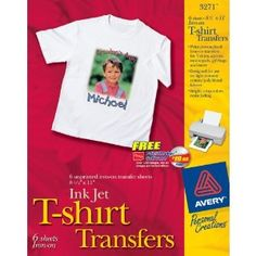 Avery T-shirt Transfers for Inkjet Printers, 8.5 x 11 Inches, Clear, Pack of 6 (03271)