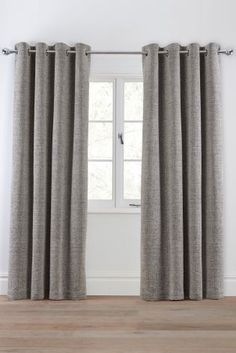 Textured Chenille Eyelet Curtains - Next Lounge Curtains, Living Room Decor Curtains, Curtains With Blinds, Bedroom Curtains, Silver Living Room, Home Living Room, Ruffle Curtains, Houses, Living Room
