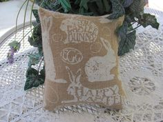 It' a Smaller Plump Easter Bunny Burlap Pillow, Happy Easter Decor by THISPLUSTHAT on Etsy