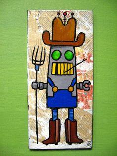 ROBOT FARMER Folk Art Painting  Acrylic on Wood  by LABideas, $30.00