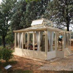 (M, I'm ordering one of these for each of us, ha! giardino d'inverno per… Glass Conservatory, Gazebos, Cottage Homes, Terrazzo, Outdoor Gardens, Porch, Pergola, Sweet Home, Shabby Chic