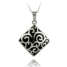 Glitzy Rocks Stainless Steel Black Enamel Paisley Design Necklace | Overstock.com Shopping - The Best Deals on Stainless Steel Necklaces