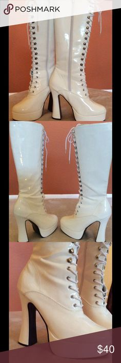 "Knee-High Platform Go-Go Boots Bone-White knee-high platform go-go boots, with Lace up front and inside zipper 5"" heel, with 1.5"" platform. Brand is Pleaser. Never worn, only tried on in the house Pleaser Shoes Lace Up Boots"