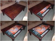 Double use gaming table. Play games over multiple sessions by storing beneath table.