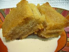 3 ingredients in this simple dessert recipe! It is sweet, tastes a little like a simple bread pudding, and is pretty rich so a small slice is plenty. Posted for Zaar World Tour III. Cook time includes chilling time.