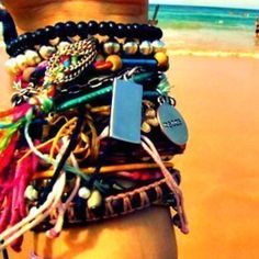 I really do love bracelets a lot. This is what my arm and ankle looked like at one point.