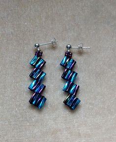 Handmade earrings bugle bead earrings drop earrings blue